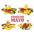 cinco de mayo holiday icon of mexican food drink vector image vector image