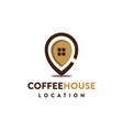 coffee cup house pin logo icon template vector image vector image