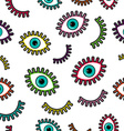 Colorful stitch patch eye icons seamless pattern vector image vector image