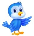 Cute blue bird cartoon waving vector image vector image