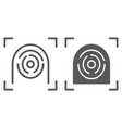 fingerprint scanner line and glyph icon security vector image