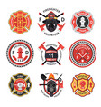 firefighter label set vector image vector image