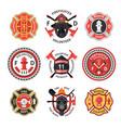 firefighter label set vector image