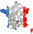 france map made of hearts background vector image