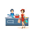 girl makes a large purchase at the store vector image vector image