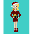 girl with a present gift vector image vector image