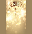 gold bokeh 2019 new year background with clock vector image