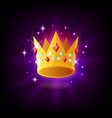 gold crown with rubies and pearls icon with vector image
