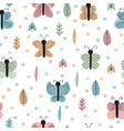 hand drawn seamless pattern with butterflies and vector image vector image