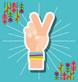 hand peace and love feathers free spirit vector image vector image