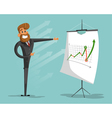 Happy businessman or manager brags success graph vector image
