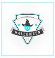 happy halloween badge sticker label design vector image