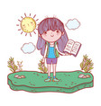 happy little girl reading book with sun kawaii vector image vector image