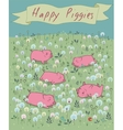 Happy Piggies on the blossoming field vector image vector image