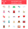 happy valentines day solid icon set vector image vector image