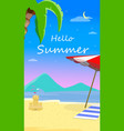 hello summer beach background with seascape flyer vector image vector image