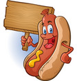 hot dog cartoon holding a sign vector image