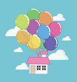 house with lots of colorful balloons flying vector image vector image