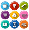 Icons with big economical values vector image vector image