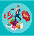 isometric man with loudspeaker e-commerce vector image