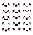 Kawaii cute faces Kawaii emoticons adorable vector image vector image