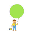 little boy standing with big balloon and toy car vector image vector image