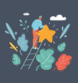 man on a ladder to pick star above cloud vector image vector image