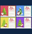merry christmas happy new year poster santa tree vector image vector image