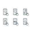 mobile shopping line icons set on white background vector image vector image