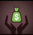money bag cover by hand or save money concept vector image