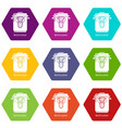 multi cooker icons set 9 vector image vector image