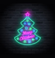 neon sign christmas tree and merry christmas vector image