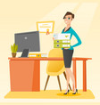 office worker holding pile of folders vector image
