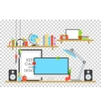 Office workplace design concept set with book vector image vector image