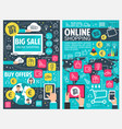 online shopping banner of web business technology vector image vector image
