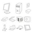 personal computer outline icons in set collection vector image vector image