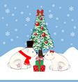 polar bears and christmas tree vector image vector image