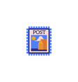 postage stamp with landscape image and blue edges vector image vector image