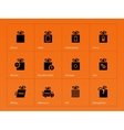 Presents box icons on orange background vector image vector image