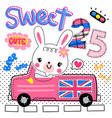 rabbit girl driving pink pickup truck on road vector image vector image