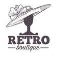 retro boutique logo with vintage hat on mannequin vector image vector image