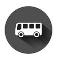school bus icon in flat style autobus on black vector image vector image