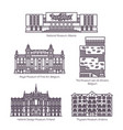 set isolated european museums in thin line vector image