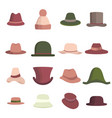 set man and woman different hats head hat icon vector image