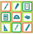 Set of 9 icons of instruments vector image vector image