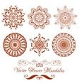 Set of Henna Color Mandala over white vector image vector image