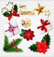 set of realistic christmas elements vector image