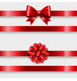 silk red bow set and transparent background vector image vector image