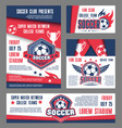 soccer team college football match posters vector image vector image