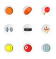 Sports equipment icons set cartoon style vector image vector image